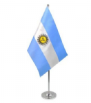 Argentina Desk / Table Flag with chrome stand and base.
